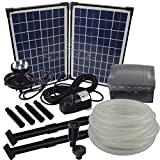 Agora-Tec® at-Solar Bachlaufpumpen - Set 20W-BLH mit Akku und 6- Fach LED Ring...