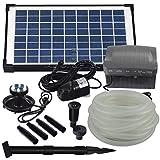 Agora-Tec® at-Solar Bachlaufpumpen - Set 10W-BLH mit Akku und 6- Fach LED Ring...